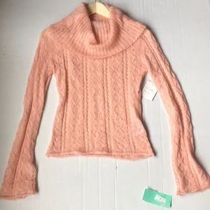 NWT Kenzie Pink Open Knit Cowl Neck Sweater
